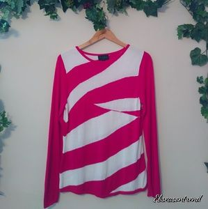 2/$15 Investments Knit Pink/White Long Sleeve Top